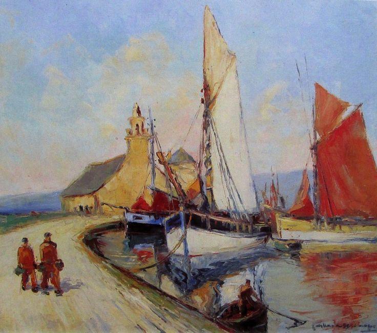 """Alexandre Gabriel Gaillard-Deschamps (1903-1984) ~ """"Le Sillon de Camaret, Presqu'île de Crozon"""" - Bretagne"""
