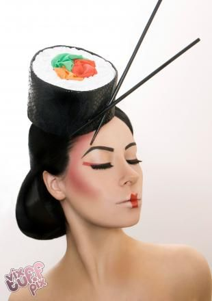 Sushi Hat | the libertarian Sushi roll with leather seaweed and accenting chopsticks. Hand carved rice! Available for hire or made to order on request. Photo: Vix Tuff Pix, Model: Trixi Dlicious, MUA: Josephene Birkett