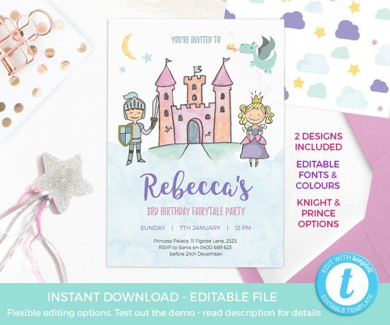 Princess Invitations EDITABLE Prince Party