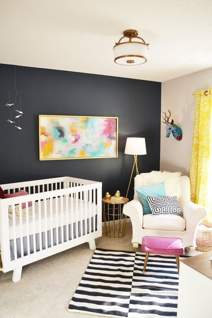 Eliza's Eclectic Glam Nursery / Bedroom - mono - white floor - colour (pink, blue, yellow) - rug - pattern - light - art: