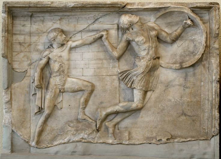 Greek pursuing a wounded Amazon (scene of Amazonomachia). Marble. Neo-Attic relief panel. Mid-2nd cent. CE. Inv. No. 2115. Athens, Archaeological Museum of Piraeus