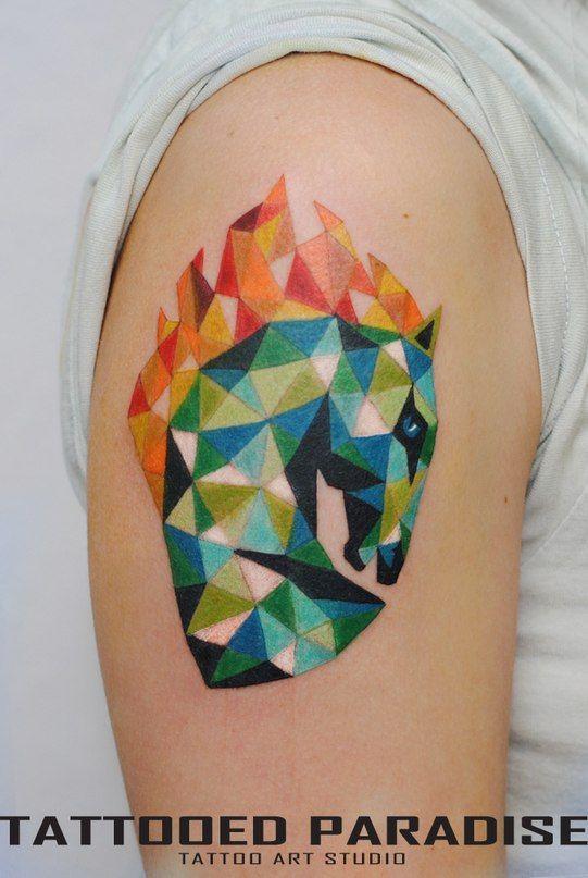 Horse tattoo design---interesting, kinda like it