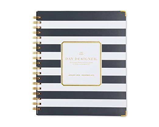 "Day Designer for Blue Sky 2018 Weekly & Monthly Planner, Hardcover, Twin-Wire Binding, 8"" x 10"", Navy Stripe. Available to purchase from Amazon. #Ad"