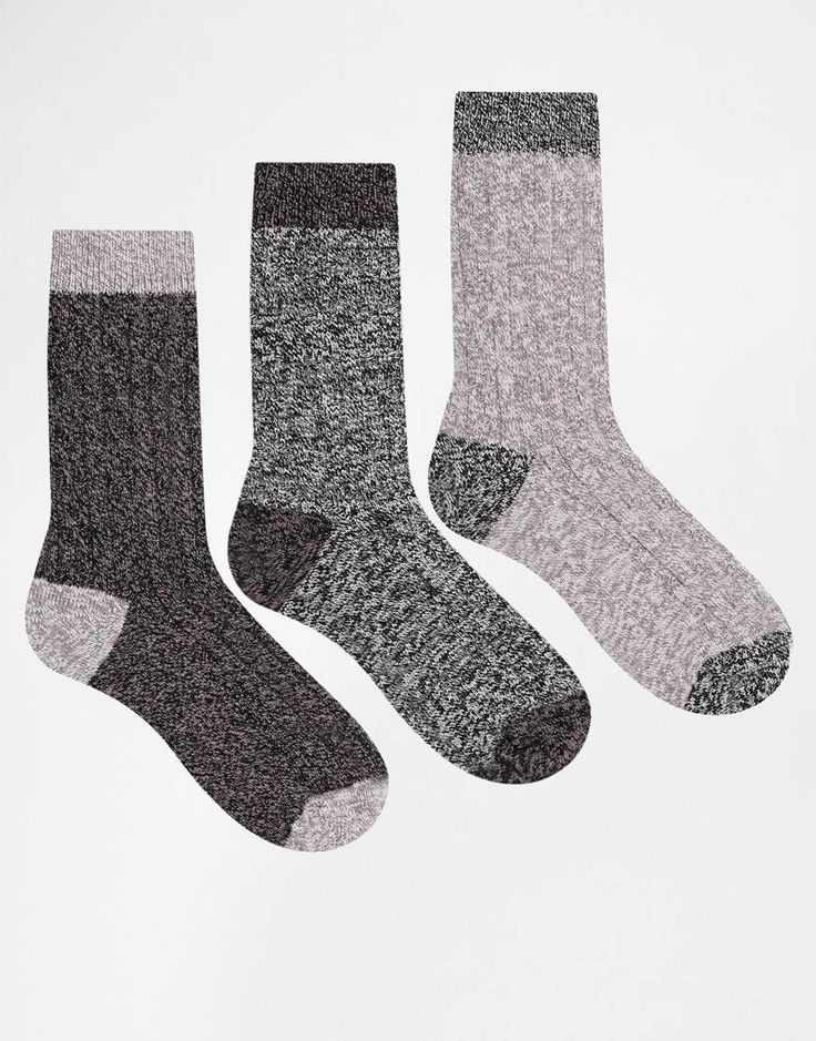 Socks by ASOS Cable knit Contrast heel, toe and hem Boot-cut styling Machine wash 84% Cotton, 15% Nylon, 1% Elastane Pack of three