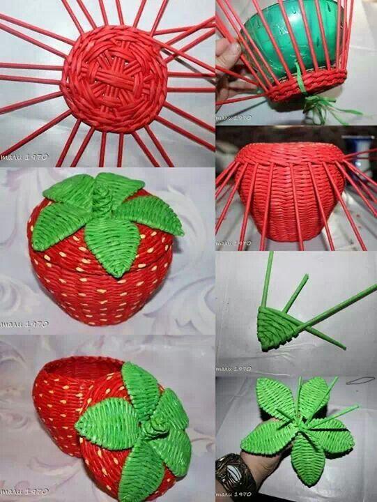Como hacer una cesta con forma de fresa con rulos de periódico.