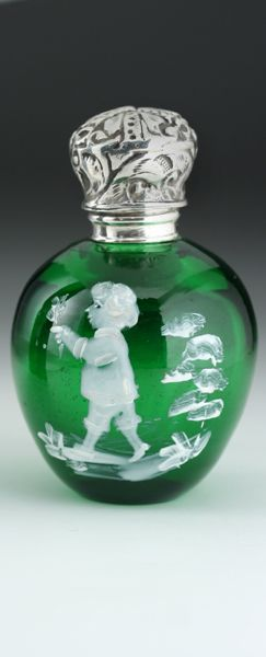 MARY GREGORY STYLE GREEN GLASS SCENT PERFUME BOTTLE, SILVER TOP