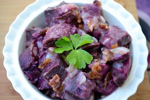 : German purple potato salad featuring Stokes Purple® Sweet Potato ...