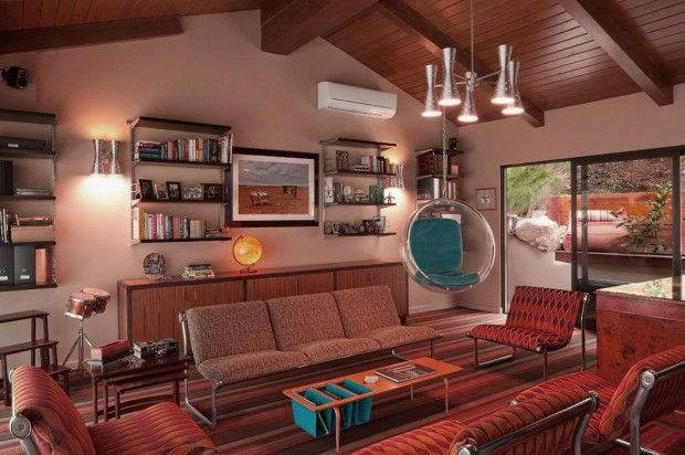 Fabulous Living Room Design Ideas with Retro Furniture and Pendant