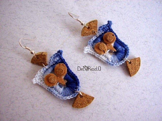 decoriciclo: orecchini a gufetto fatti con linguette delle lattine