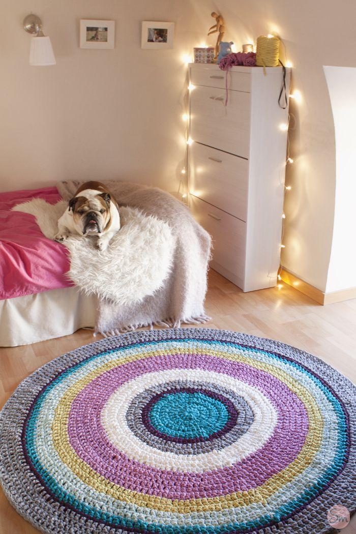 Alfombra de Ganchillo de 160 cm. de diámetro. Crochet Rug www.susimiu.es