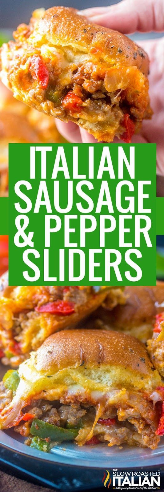 Italian Sausage and Pepper Sliders are meaty, cheesy and gooey. They are the ultimate comfort food for game day, get-togethers or just a good hearty meal!