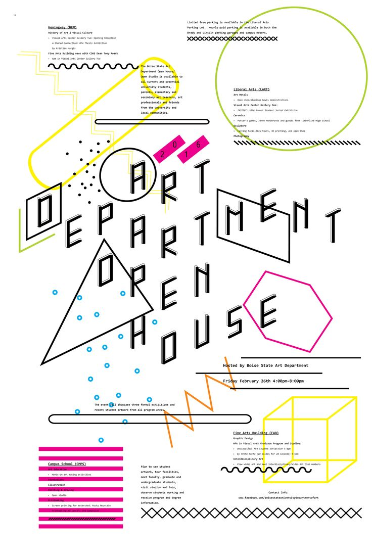 Poster design with a lot of text - 2016 Art Department Community Open House Poster Design By Brooke Cassity Graphic Design