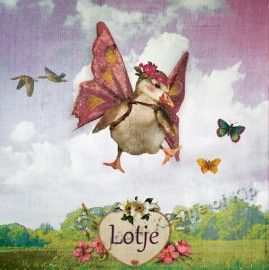 "Vleugelgansje ""bloemen"" lila | GEBOORTEKAARTJES | Kaartje of Kip"