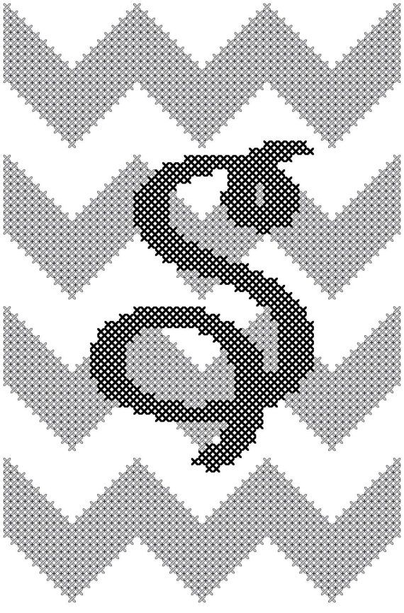 "Chevron Style with Initial Cross Stitch in Grey & Black small 4"" x 6"""