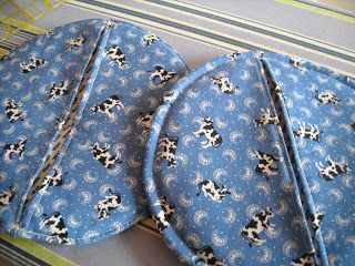 Round potholders and I really like this tutorial. Easy to understand and makes you want to get your sewing machine out NOW.