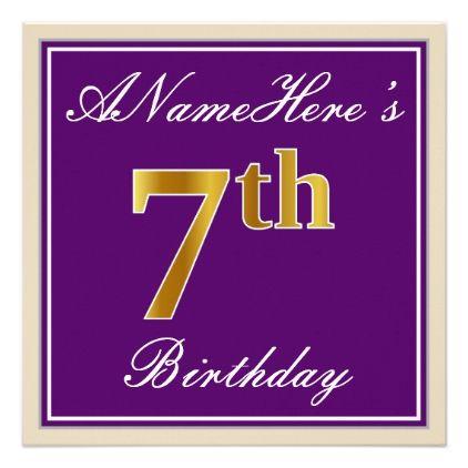 Elegant Purple Faux Gold 7th Birthday Name Invitation Birthday