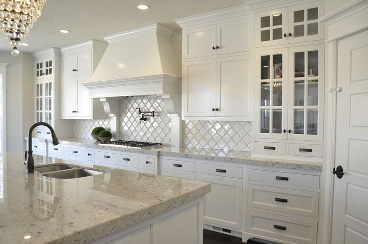 colonial white granite Kitchen Farmhouse with dark island Colonial ...