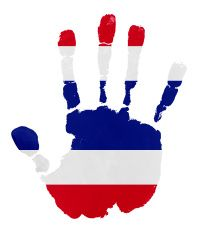 Handprints with Thailand  flag illustration