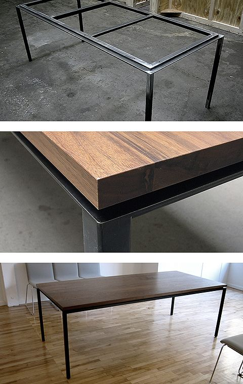 Custom table in blackened steel and oiled walnut Face Design   Fabrication. Best 25  Steel furniture ideas on Pinterest   Steel table  Wood