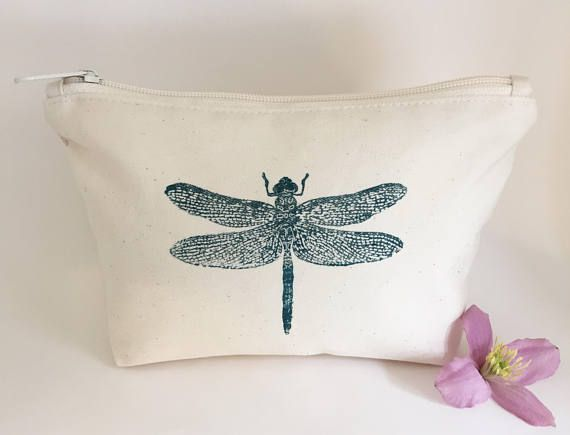 Turquoise Dragonfly canvas wash bag Makeup bag Cotton