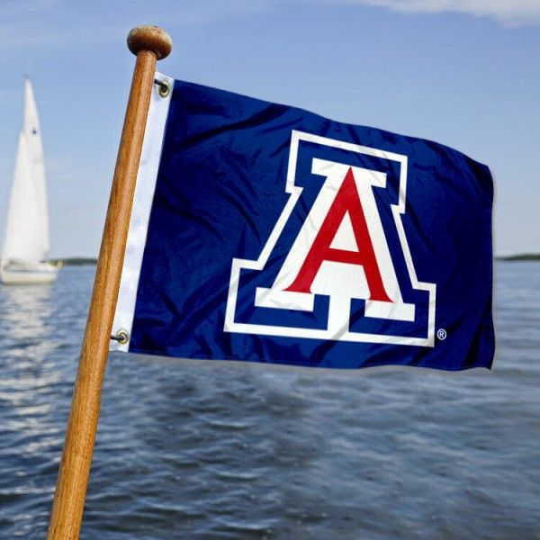 Arizona Wildcats Boat Flag is 12x18 inches in size, is made of polyester, has quadruple stitched flyends, a header with two metal grommets, and the...