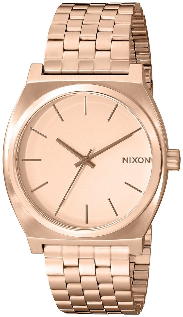 Nixon Women's A045897 Time Teller Stainless Steel Watch    Only $94.00    A menswear-inspired Nixon watch with a brushed, rose gold-tone finish. Slim markers and 3 hands accent the dial. Hinged-snap clasp.