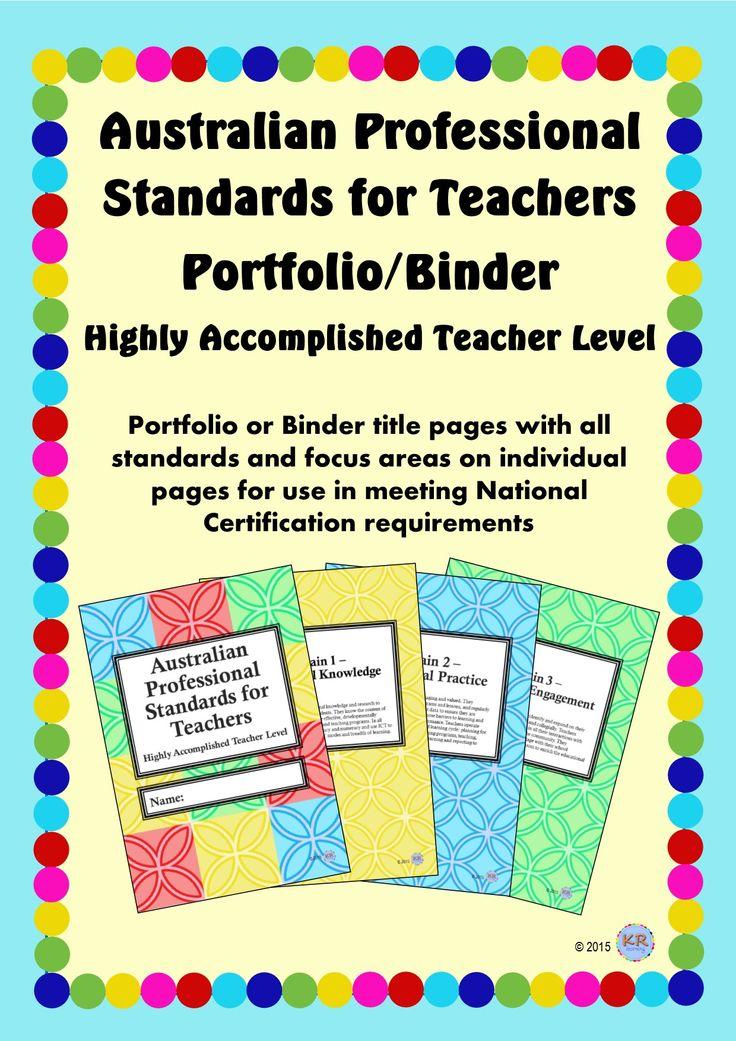 Highly Accomplished Teacher Level - Australian Professional Standards for Teachers Print Portfolio Binder by KR Learning