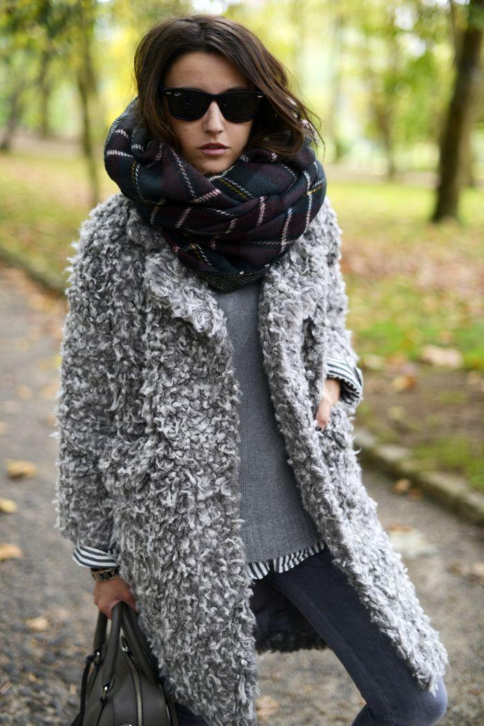 plaid & textured grey