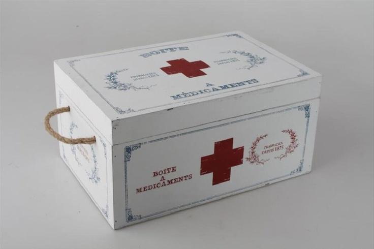 Botiquin madera blanco cruz roja