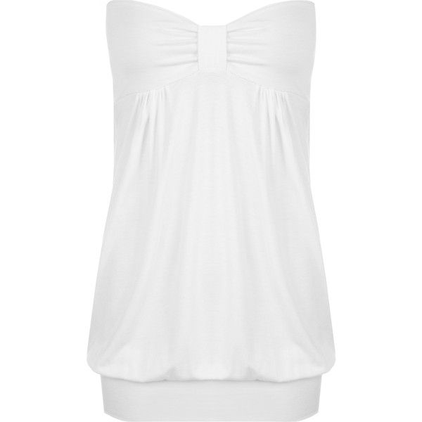 WearAll Plus Size Plain Bandeau Top ($15) ❤ liked on Polyvore featuring plus size women's fashion, plus size clothing, plus size tops, white, white tube top, womens plus tops, plus size bandeau top, women's plus size tops and white ruched top