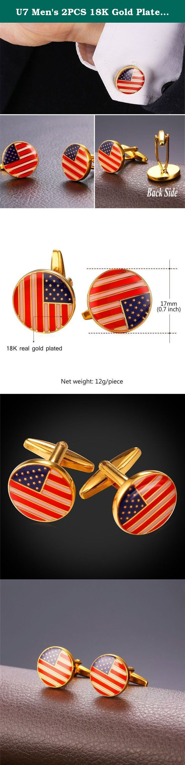 """U7 Men's 2PCS 18K Gold Plated Cufflinks the Old Glory USA Flag Design Shirt Cuff Link. flag of the United States design,round. Easy to match suit,perfect wear on party,wedding,National Day,father's day,graduation. Gold plated copper is a method of depositing a thin layer of gold onto the surface of copper. Brand name: U7 """"U7"""" means love you seven days for a week. U7 Jewelry is fashion jewelry seller in Amazon. U7 Jewelry is made with German imported polishing and electroplating equipment...."""