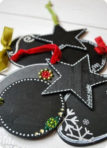 Chalkboard gift tags:paint generic cheap wood shapes from the craft store with black chalkboard paint punch a hole near the edge of each shape (the Cropadile cuts them like buttah!)
