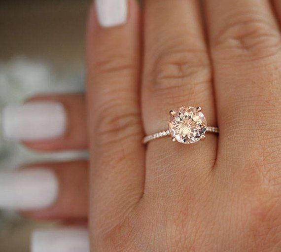 Delicated 2Ct Round Cut Morganite Halo Engagement Ring 14K Rose Gold Finish