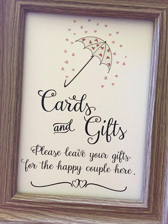 CARDS & GIFTS Romantic Bridal Shower Sign, Bridal Shower Umbrella Sign,5x7 Bridal Shower Sign,Printed Bridal Shower Sign