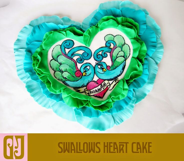 Ruffle heart shaped cake with blueberries and Matcha custard
