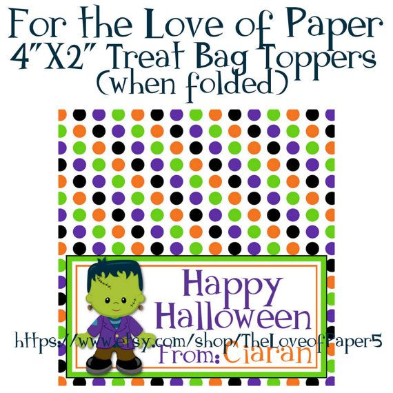 Personalized Halloween Treat Bag Toppers ~ Frankenstein ~ Digital File, DIY Halloween, Candy Bag Toppers, School Treats,