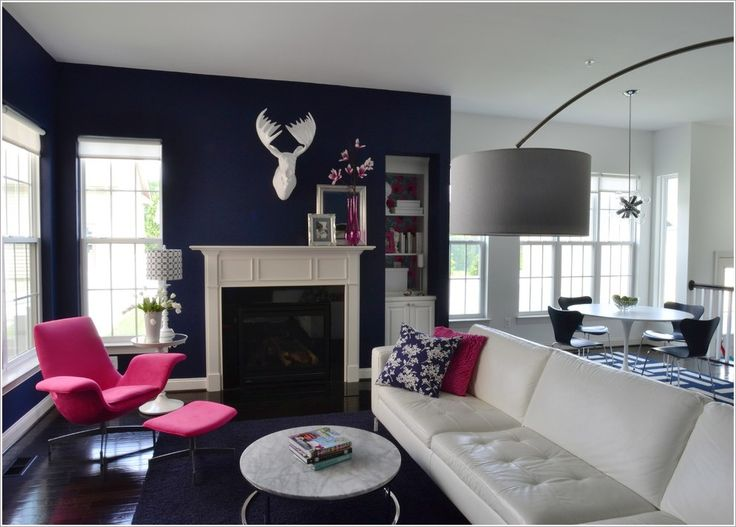 Dark Blue Wall Hot Pink Lounge Chair Leather Mantel Marble