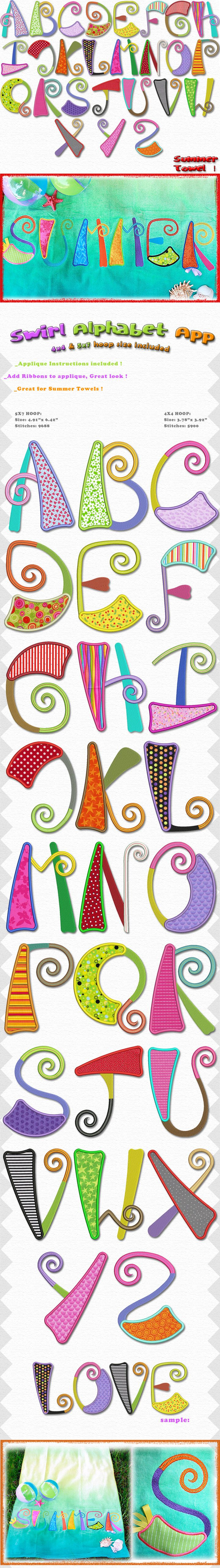 SWIRL ALPHABET, Embroidery Designs Free Embroidery Design Patterns Applique