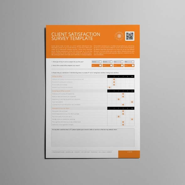 Client Satisfaction Survey Template | CMYK & Print Ready | Clean and Corporate Design | A4 Portrait Format | 2 Pages | Easily color change (Global Swatch)