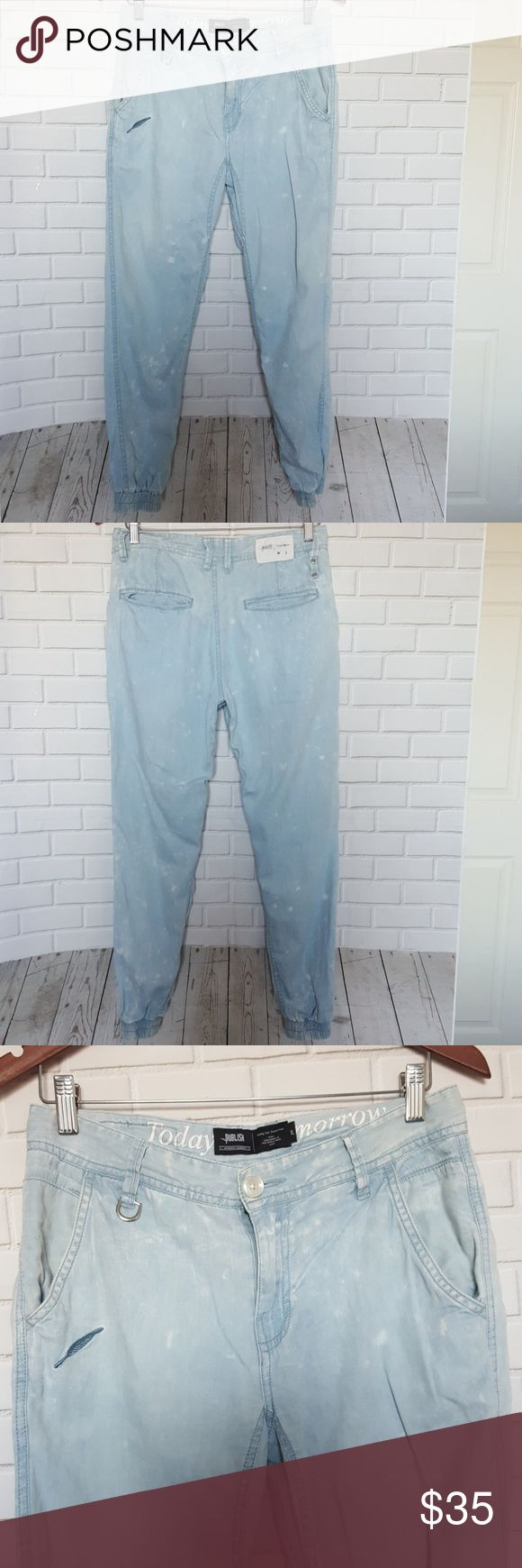 """Publish Jogger Pants Denim Jeans Size 30 Lightweight, light wash denim jogger. Excellent preowned condition. 5 pocket, zip fly Size 30 Measurements with garment laid flat: WAIST  - 15 inches x 2 = 30"""" waist HIPS - 18 inches x 2 = 36"""" hips INSEAM- 27 inches  LENGTH  - 37 inches  LEG OPENING - 4 inches, stretches to 5.5 inches Publish Pants Track Pants & Joggers"""