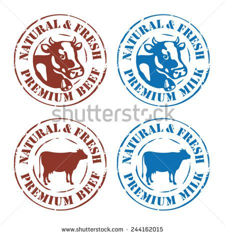 Cow rubber stamp labels, design elements - beef and milk
