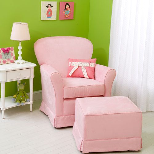 micro suede baby pink regal loose cushion glider