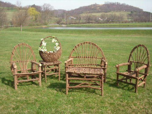 Rustic Grapevine Settee and Two Chairs with Accent Tables by Amish Made in the USA!. $599.00. Sturdy and strong construction.. This unique material makes for a uniquely beautiful furniture set!. Beautiful naturally unfinished. Rustic yet elegant, sturdy yet flexible, this Rustic Grapevien Settee and Two Chairs with Accent Tables has it all! (basket not included). Proudly made in the USA by Western Pennsylvania Amish. Rustic Grapevine Settee and Two Chairs with Accent Tables:...