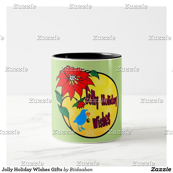 Jolly Holiday WIshes Gifts Two-Tone Coffee Mug