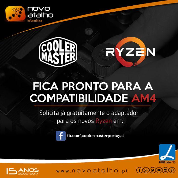 Fica pronto para a compatibilidade AM4!  Solicita já gratuitamente o adaptador para os novos Ryzen em COOLER MASTER PORTUGAL  Agora já não tens desculpas para fazeres o teu upgrade! #novoatalho #coolermaster #ryzen