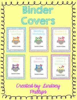 FREEBIE - Get organized this school year with these cute owl themed binder covers! This is a set of 6 fun covers with editable text boxes to type your name!