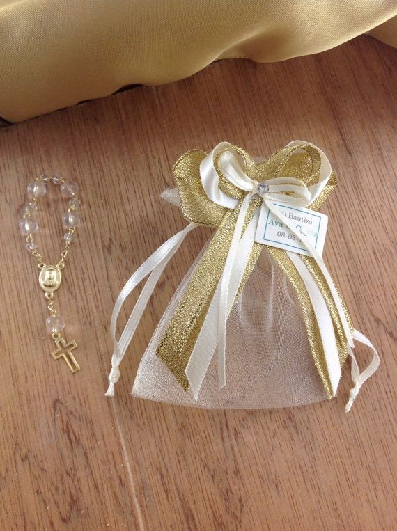 12 pcs Baptism favor bags christening favor bags by AVAandCOMPANY