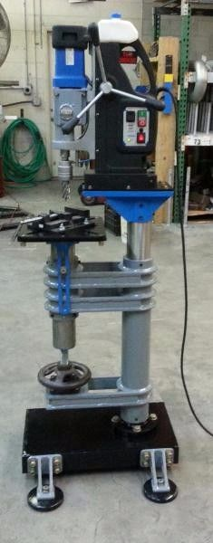 "Magnetic Drill Base by Chris T -- Homemade magnetic drill base fabricated from stainless steel pipe, tubing, 1/2"" plate, angle iron, flange, round bar, and flat bar. http://www.homemadetools.net/homemade-magnetic-drill-base-2"