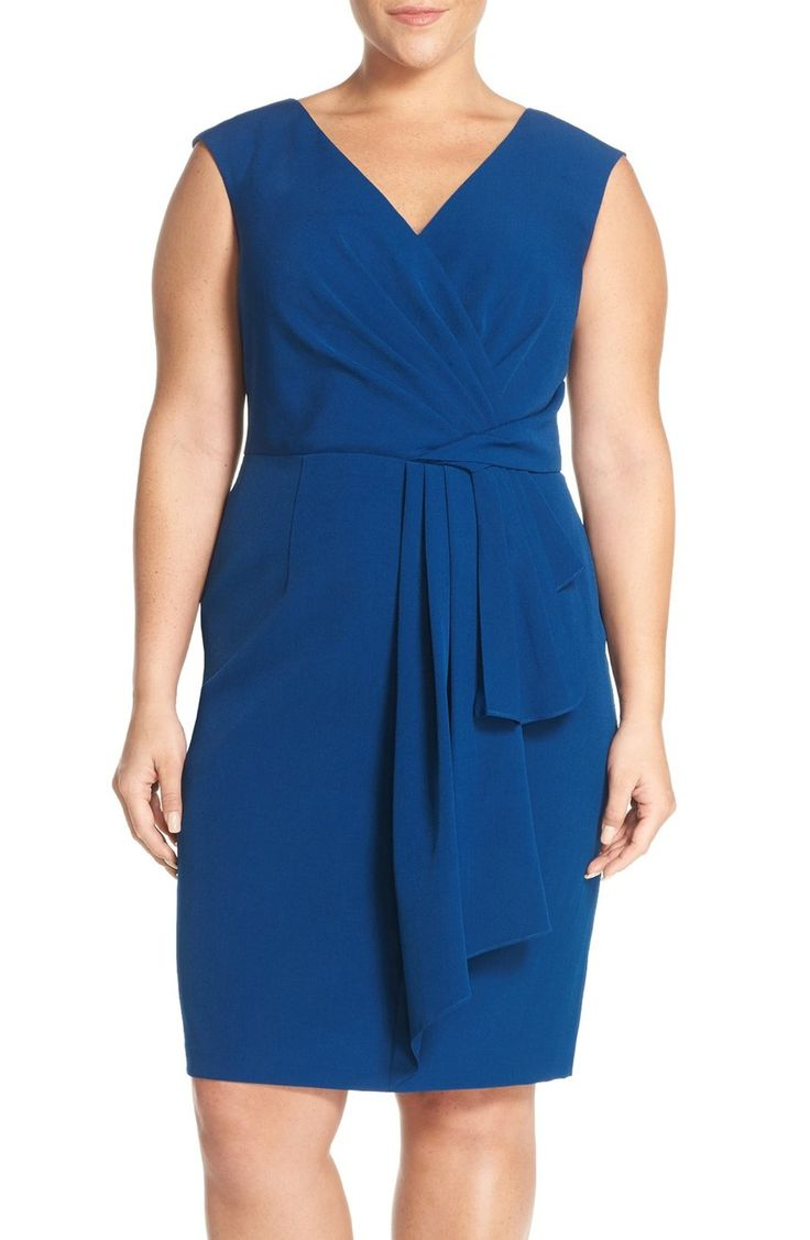 From desk to dinner. https://api.shopstyle.com/action/apiVisitRetailer?url=http%3A%2F%2Fshop.nordstrom.com%2Fs%2Fadrianna-papell-draped-faux-wrap-sheath-dress-plus-size%2F4332048&pid=uid3424-25310868-85