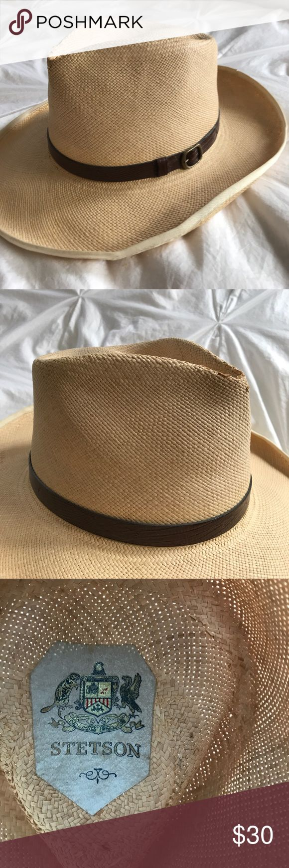 Women's STETSON straw hat size M. Beautiful authentic Stetson straw hat. Slight fraying in small spot on top. Minor wear at interior. Stetson Accessories Hats